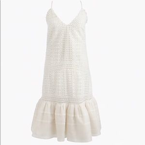 JCrew white ruffle dress